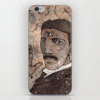 tesla iPhone & iPod Skins featuring Tesla by Joe Rowell Art