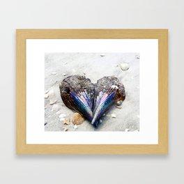 Heart Shell on Sand Framed Art Print