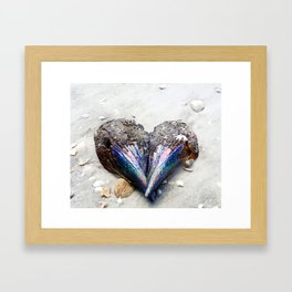 Heart Shell on Sand Framed Art Print