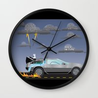 delorean Wall Clocks featuring Delorean Song by thewhitewolf90