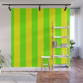 Bright Neon Green and Yellow Vertical Cabana Tent Stripes Wall Mural