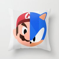 sonic Throw Pillows featuring Mario & Sonic by Thomas Official