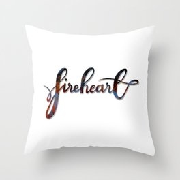FIREHEART with flames Throw Pillow
