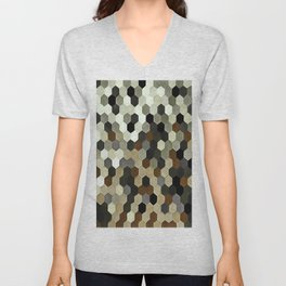 Honeycomb Pattern In Neutral Earth Tones Unisex V-Neck