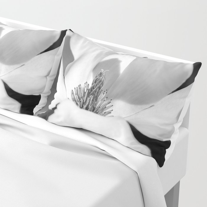 Magnolia Flower Black And White Pillow Sham By Rogerporter Society6