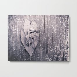 Baby Bird Sepia Nature Leaves Wood Metal Print