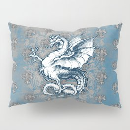 Noble House STEEL BLUE / Grungy heraldry design Pillow Sham
