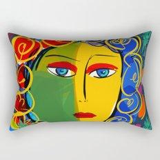 The Green Yellow Pop Girl Portrait Rectangular Pillow