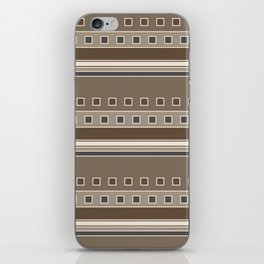 Squares and Stripes Geometric Design in Brown iPhone Skin