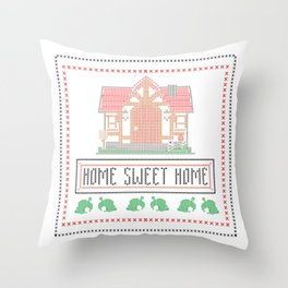Animal Crossing 'Home Sweet Home' Cross-stitch Throw Pillow