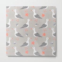 Seagull on the Beach Metal Print