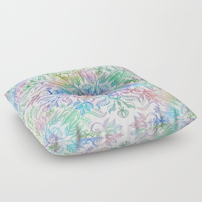 Nature Mandala in Rainbow Hues Floor Pillow
