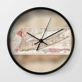1842 Mather Map of Long Island, New York Wall Clock