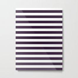 Narrow Horizontal Stripes - White and Dark Purple Metal Print