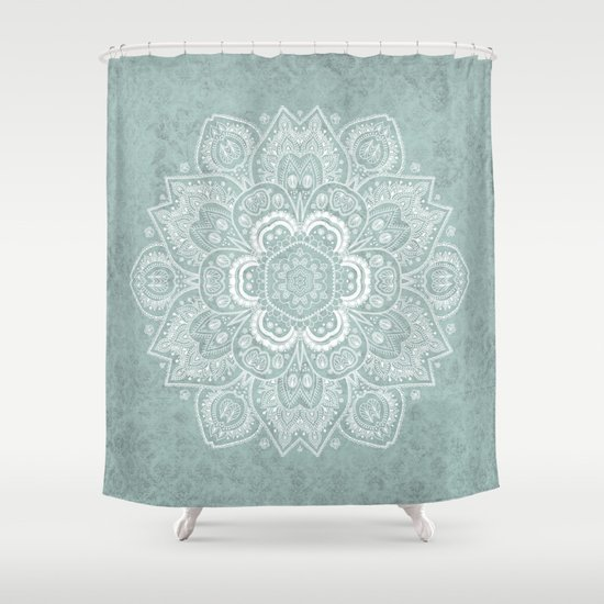 Mandala Temptation In Rustic Sage Color Shower Curtain