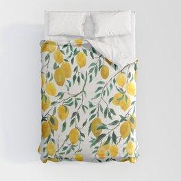watercoor yellow lemon pattern Comforters