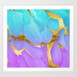 Bird of Paradise Feathers Teal Purple Gold Art Print