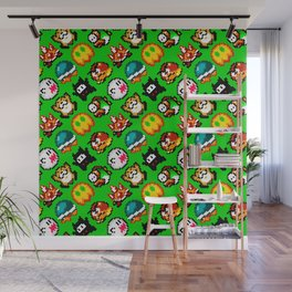 Super M. World   green grass   retro gaming pattern Wall Mural