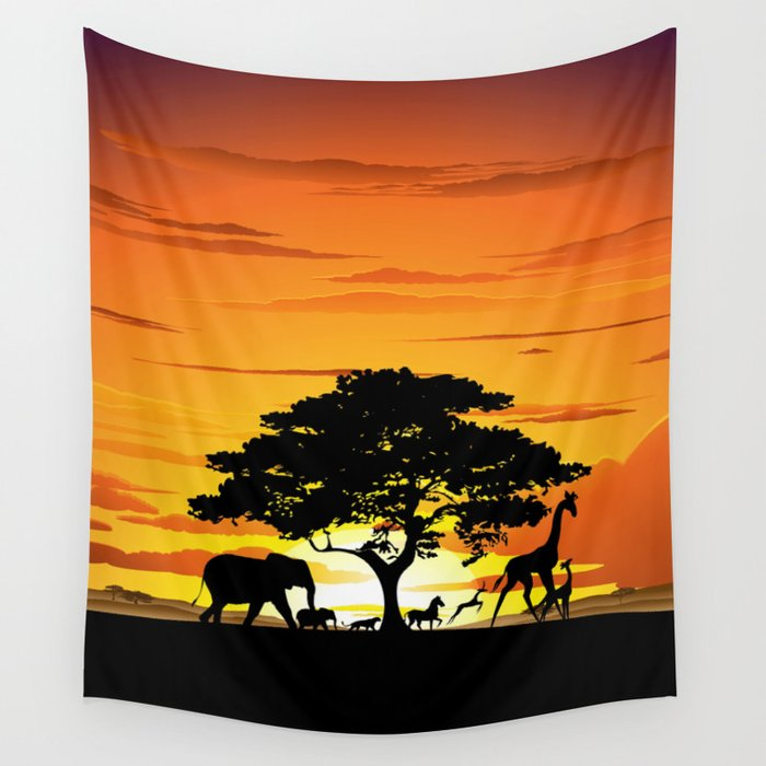 Wild Animals On African Savanna Sunset Wall Tapestry By
