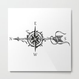Compass with Arrow (Tattoo stule) Metal Print