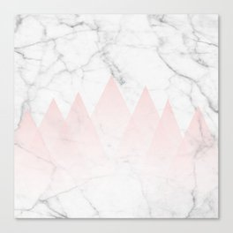 White Marble Background Pink Abstract Triangle Mountains Canvas Print