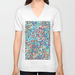 grid in red and blue Unisex V-Neck