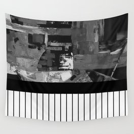 B&W II - Black and white, abstract, contrasting pattern Wall Tapestry