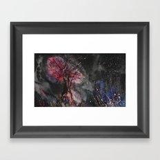 Burning tree in space Framed Art Print