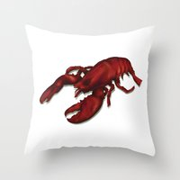 lobster Throw Pillows featuring Lobster by Keith Cowan