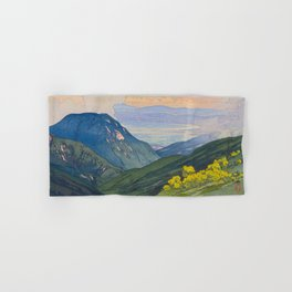 Otenjo Mountaine Alps Vintage Beautiful Japanese Woodblock Print Hiroshi Yoshida Hand & Bath Towel
