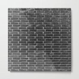 Brick Texture Shades of Black Metal Print