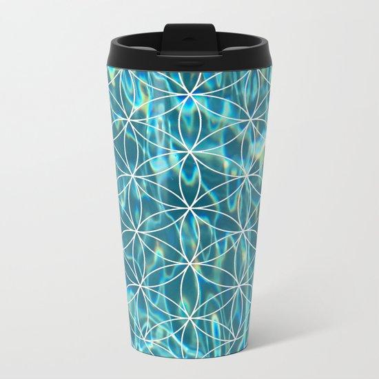 Flower of life in the water Metal Travel Mug
