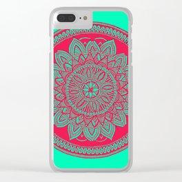 Mandala in Technicolor Clear iPhone Case