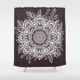Mandala Bohemian Seaside Stone Floral Wreath Illustration Shower Curtain