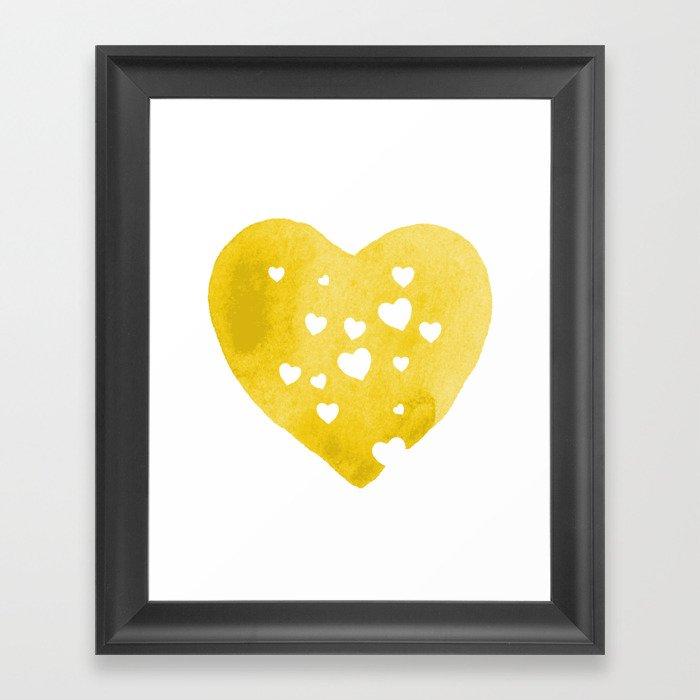 Yellow Hearts Framed Art Print