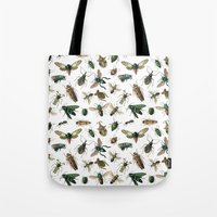 insects Tote Bags featuring Insects by Noughton