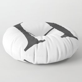 Letter H Initial Monogram Black and White Floor Pillow