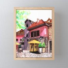 Vintage house street cafe Framed Mini Art Print