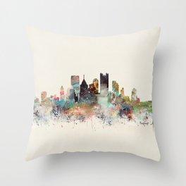 pittsburgh city skyline Throw Pillow