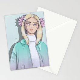 Chica con loto Stationery Cards