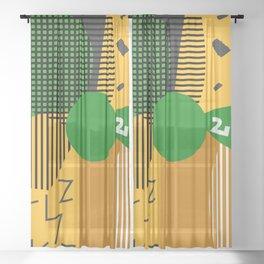 Abstract desert vegetation Sheer Curtain