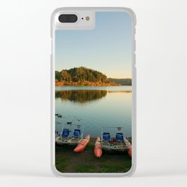 Furnas lake at sunset Clear iPhone Case