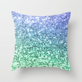 Glitter Sparkling Blue Green Turquoise Teal Throw Pillow