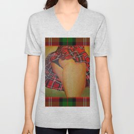 Young Girl Flirting Tease Me in Tartan With Border Unisex V-Neck