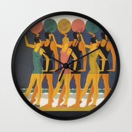 Art Deco Swimwear and Beach Balls Vintage Poster Wall Clock