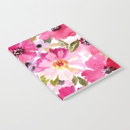 Watercolor Flowers Pink Fuchsia Notebook