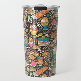 Tea party pattern on chocolate Travel Mug
