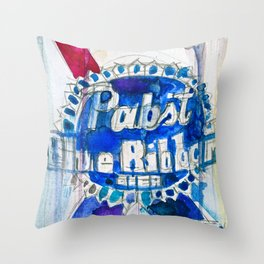 Pabst Blue Ribbon Beer Throw Pillow