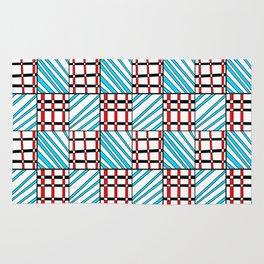 symetric tartan and gingham 19 -vichy, gingham,strip,square,geometric, sober,tartan Rug