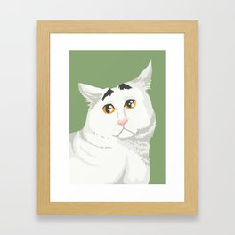 Sam the Cat with Eyebrows Framed Art Print